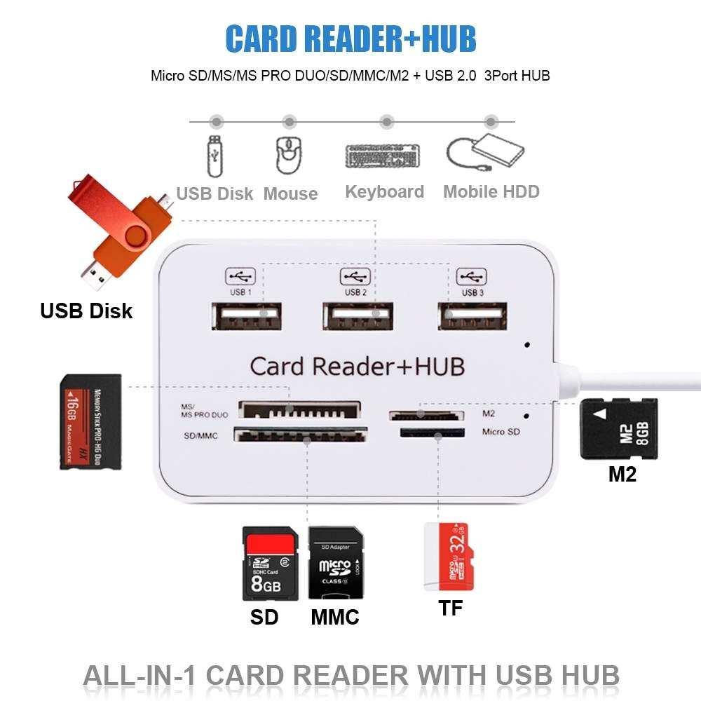 3 Port USB 2.0 HUB + Kart Okuyucu ( MicroSD SD XD M. Stick ) (C-846)