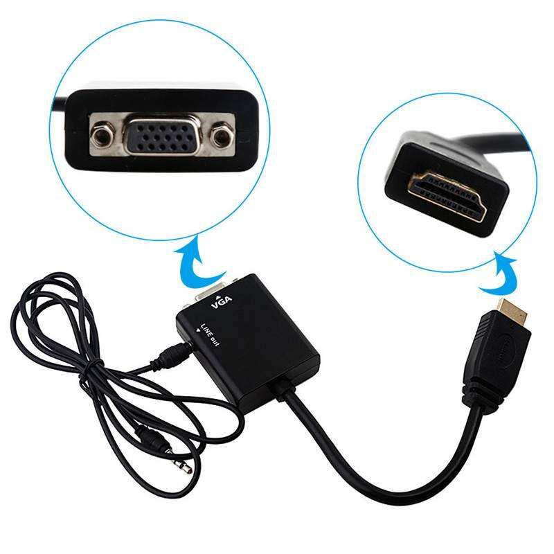 Concord HDMI to VGA Adaptör (25cm) + Aux Kablo (50cm)