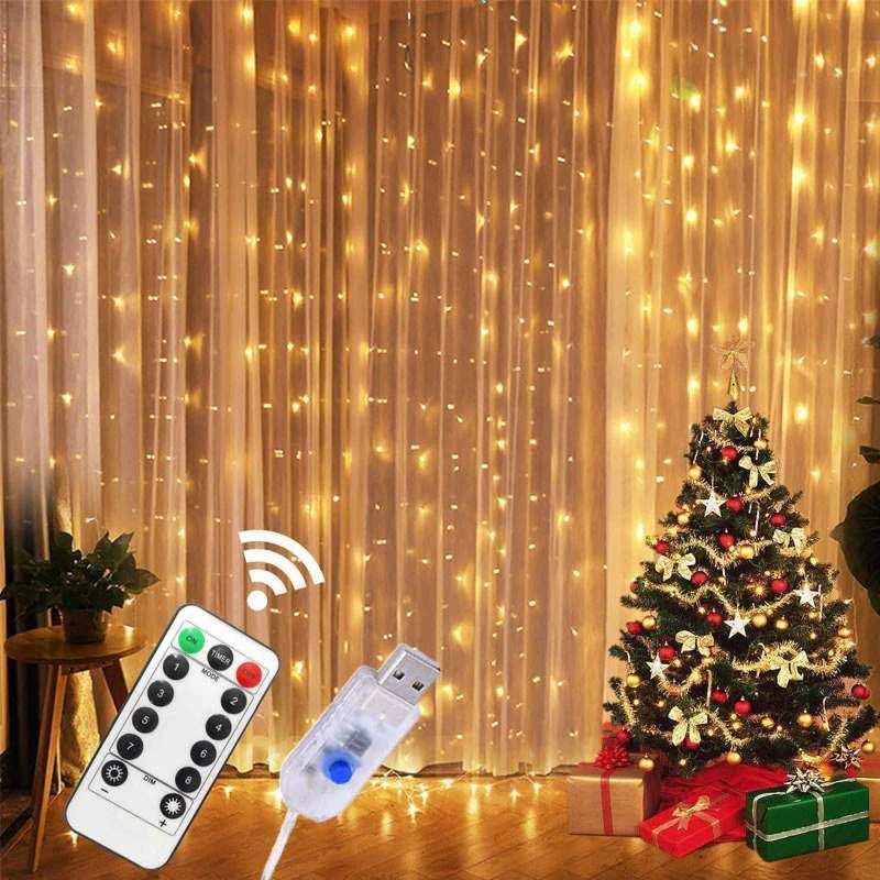 Perde Peri Led  2,5m x2,5m 10 Saçak Gün Işığı Kumanda/USB/Animasyon