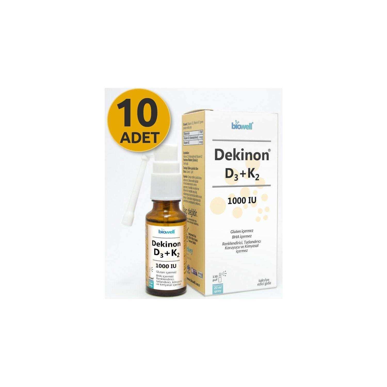 Biowell Dekinon D3 K2 Sprey 20 Ml 130 Puf X 10 Adet