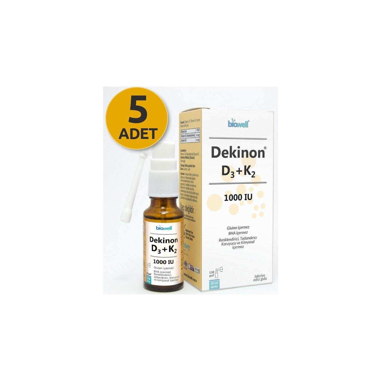 Biowell Dekinon D3 K2 Sprey 20 Ml 130 Puf X 5 Adet