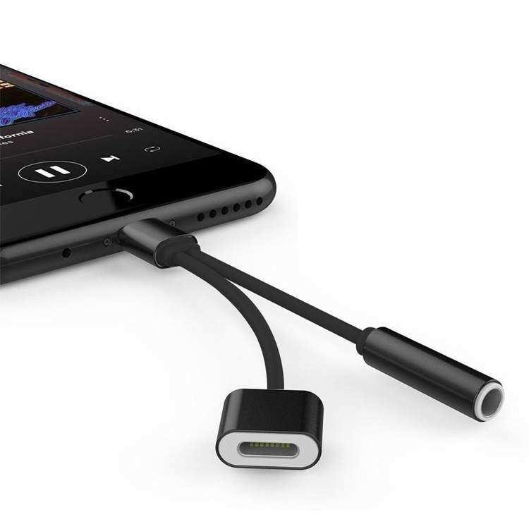 iPhone 6-S 7 8 Plus İkili Aux Kulaklık + Şarj Kablosu Çevirici
