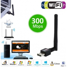 Wifi Usb Adaptör Wireless Alıcı 2.4 GHZ 300mbps Laptop