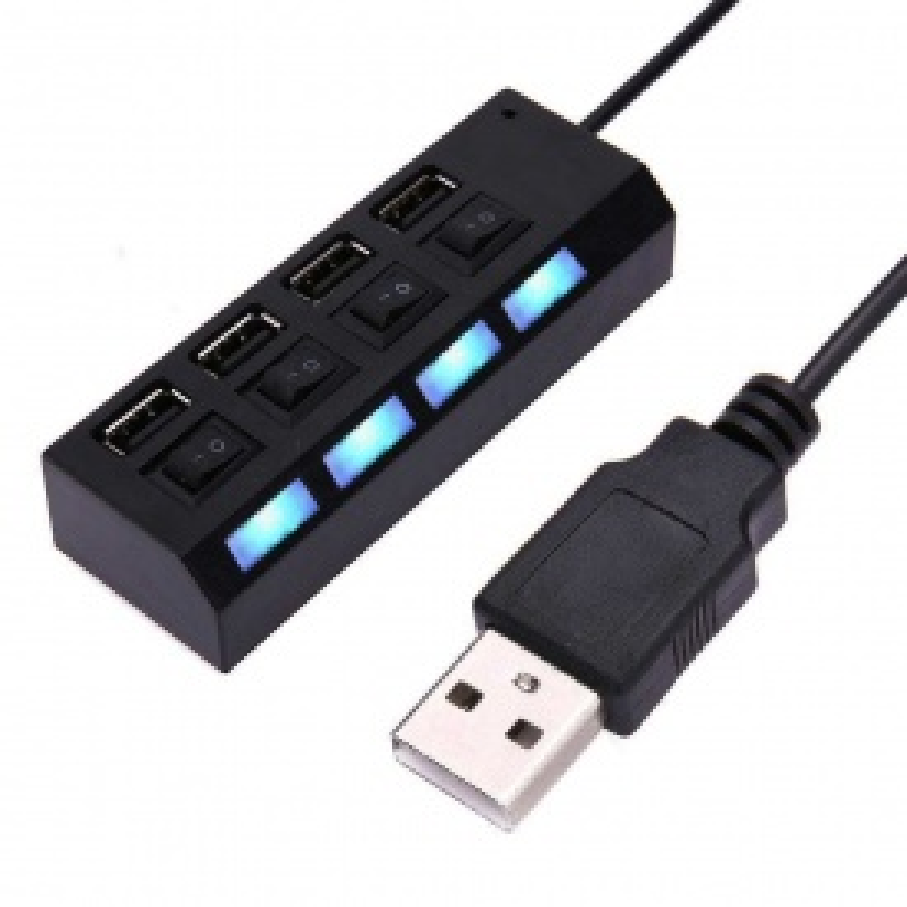 PolyGold 4 USB Port Çoklayıcı Anahtarlı Işıklı Çoğaltıcı Switch - Siyah