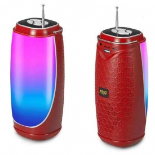 Bluetooth Taşınabilir Hoparlör LED Işıklı Gece Lambası FM Radyolu Ses Bombası - Kırmızı