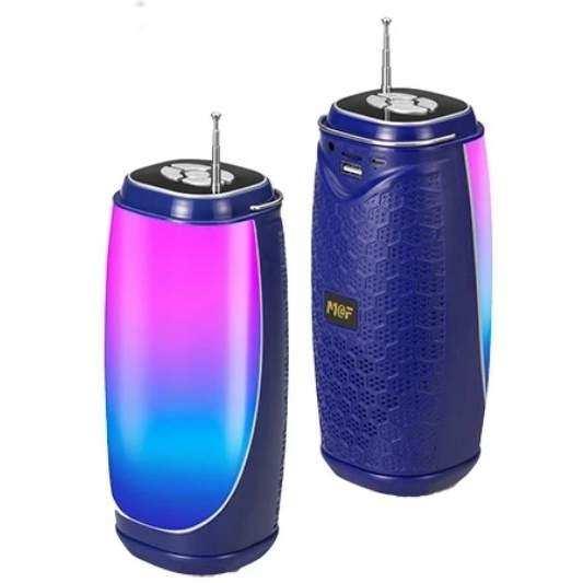 Bluetooth Taşınabilir Hoparlör LED Işıklı Gece Lambası FM Radyolu Ses Bombası - Mavi