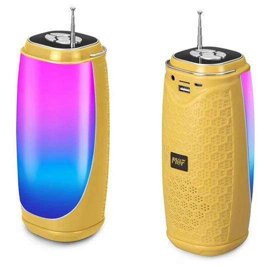 Bluetooth Taşınabilir Hoparlör LED Işıklı Gece Lambası FM Radyolu Ses Bombası - Sarı