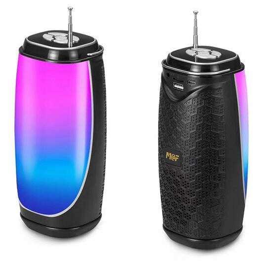 Bluetooth Taşınabilir Hoparlör LED Işıklı Gece Lambası FM Radyolu Ses Bombası - Siyah