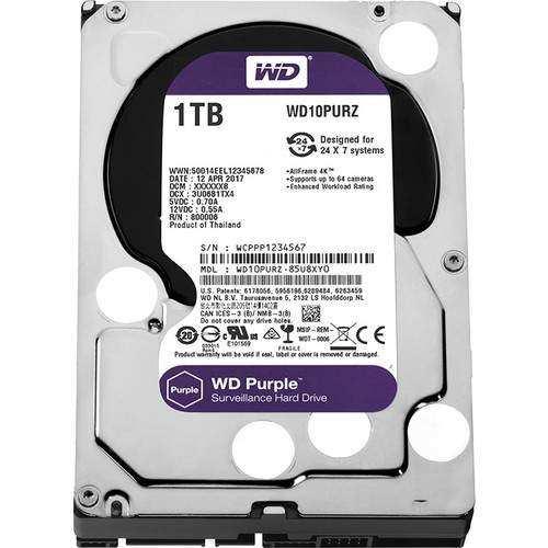 WD Purple 1TB 3,5 SATA III 6Gbit/s 64MB 7/24 Güvenlik Kamerası Diski WD10PURZ