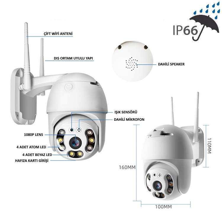 Wifi Smart Kamera Kızılötesi Gece Görüşlü Ip Kamera Hd 1080p Ip 66 Ve Xmeye Uyumlu