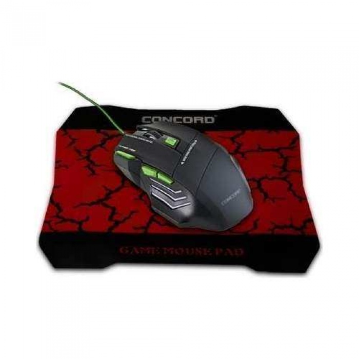 Concord Lojixx A9 Oyuncu Mouse + Mouse Pad (A-9) -Green
