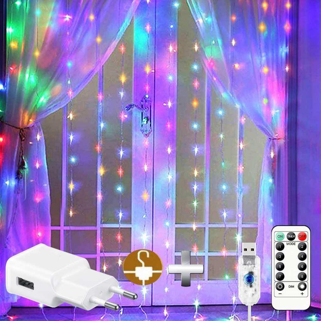 Perde Peri Led 2,5m x2,5m 10 Saçak RGB Kumanda/USB/Animasyon